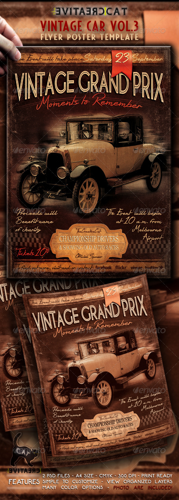 Vintage Car Flyer Poster Vol.3
