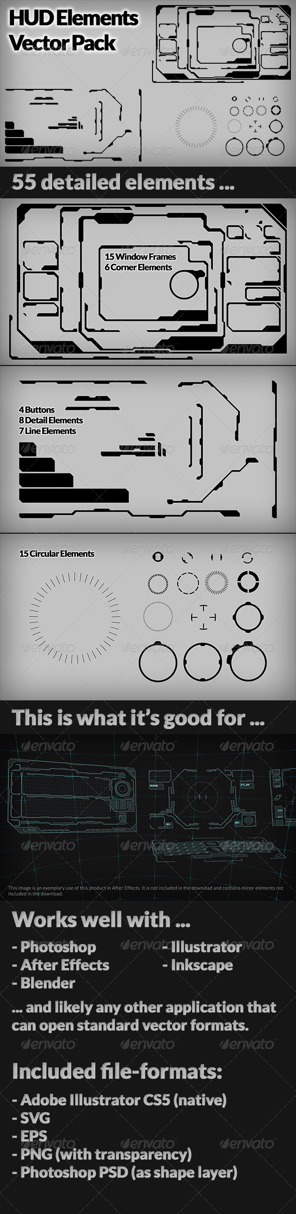 GraphicRiver HUD Interface Vectors Pack 4796664