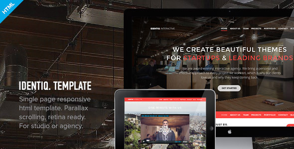 ThemeForest Identiq One Page Parallax Retina Ready Template 4797239