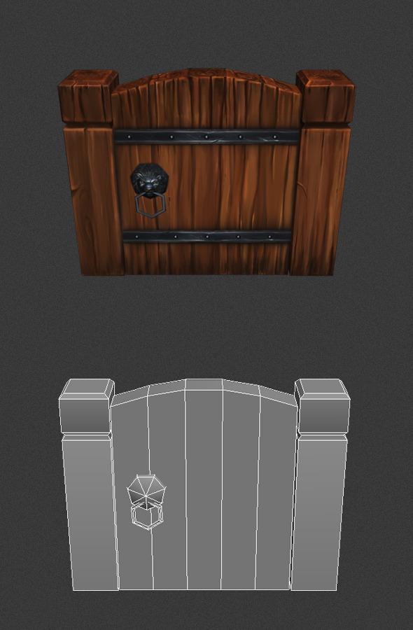 3DOcean Low Poly wood Door 4797273