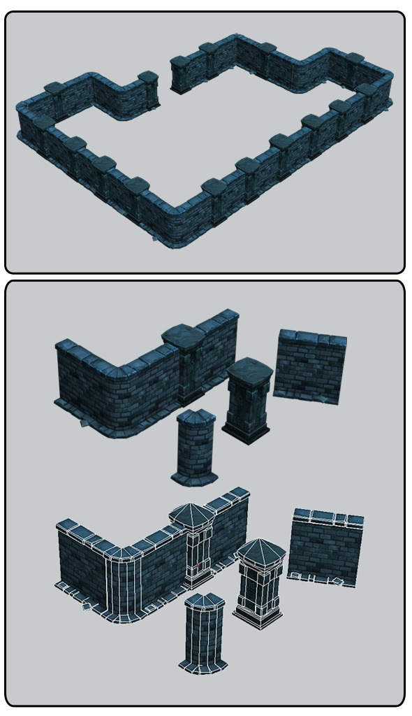 Modular Dungeon Stone Wall Segment 01 - 3DOcean Item for Sale