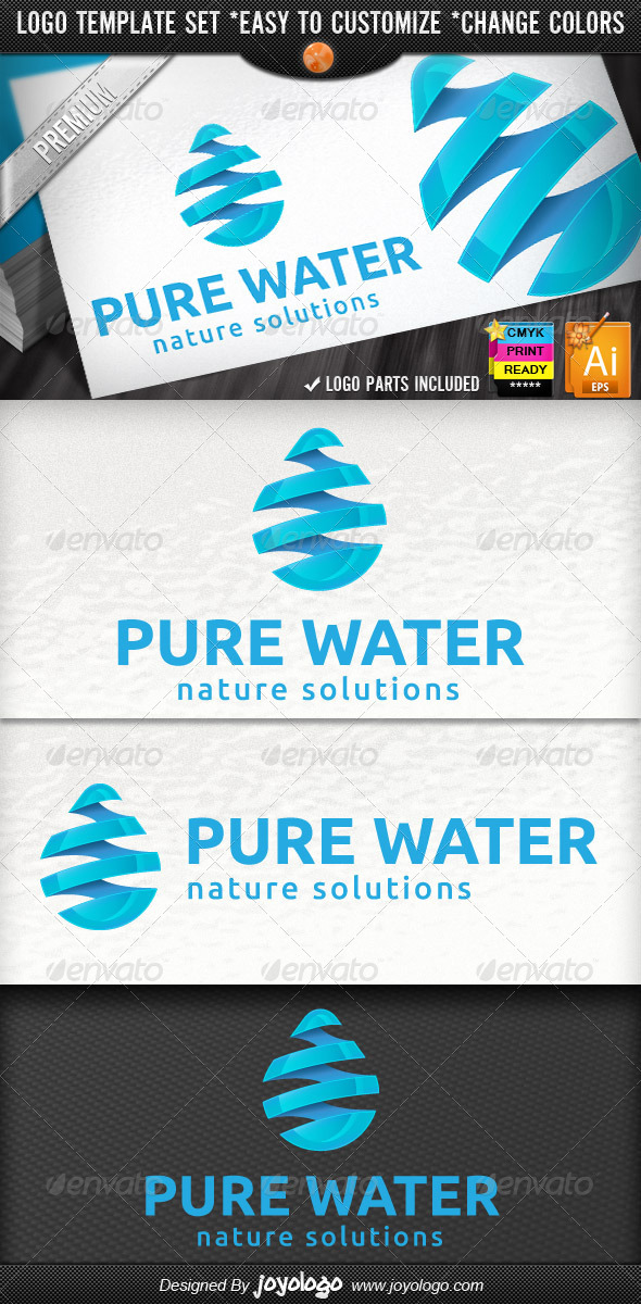 GraphicRiver 3D Drop Swirl Warp Pure Water Logo