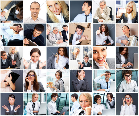 Collection of different people portraits - Stock Photo - Images