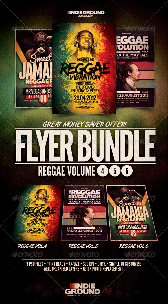 GraphicRiver Reggae Flyer Poster Bundle Vol 4-6 4797826