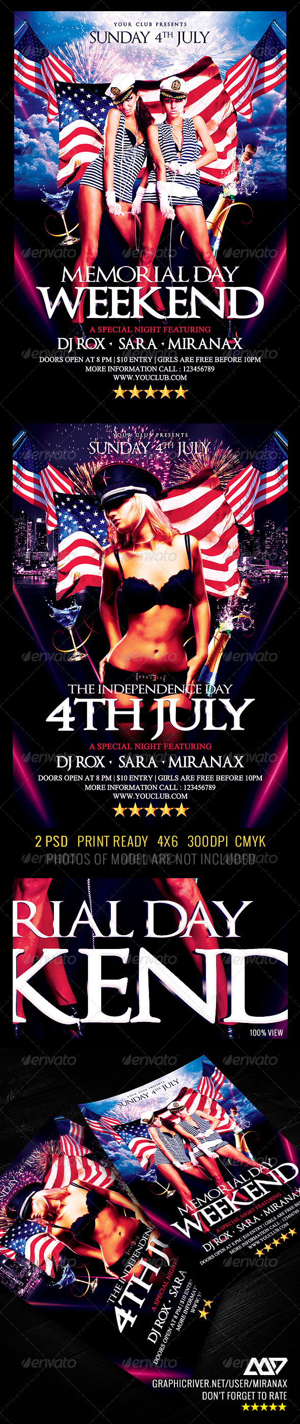 GraphicRiver Memorial Day 4th of July Party Flyer Template 4797858