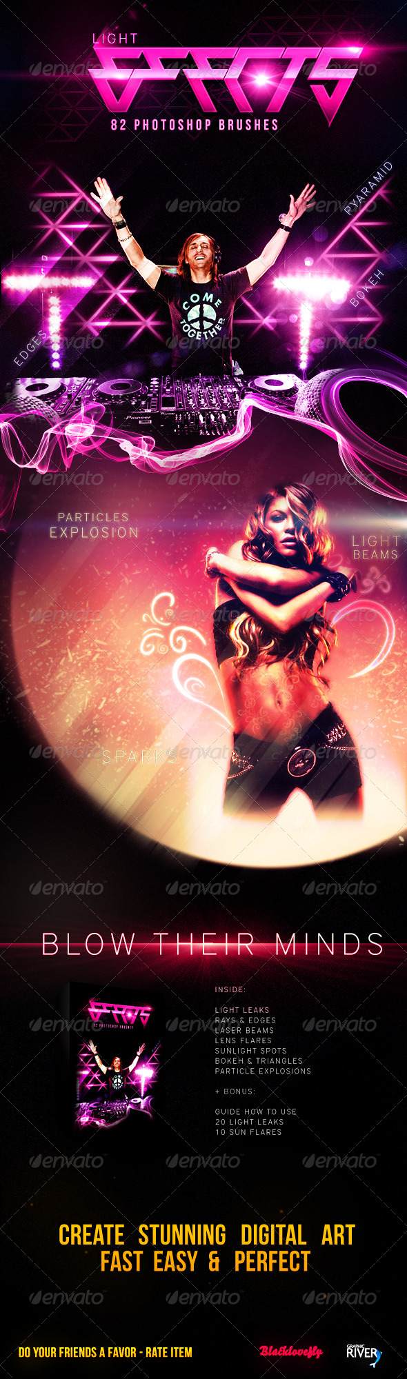 GraphicRiver 82 Light Effects Brushes 4797861