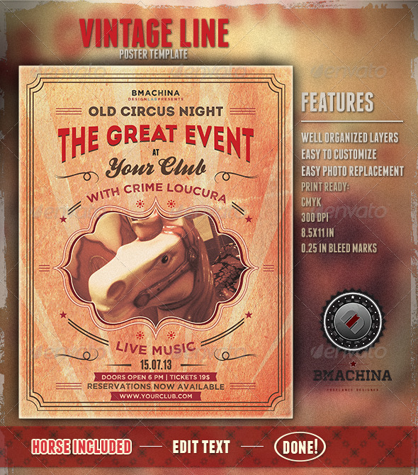 GraphicRiver Old Circus Style Poster Template 4798676