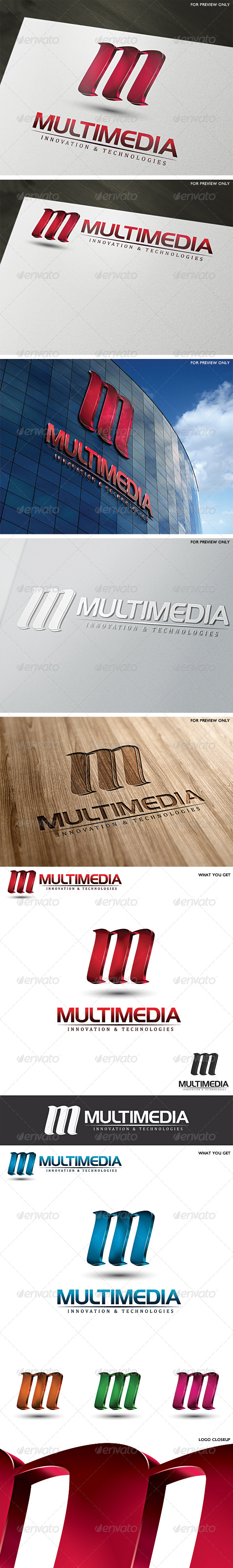 3D Multimedia Letter M Logo Template - Letters Logo Templates