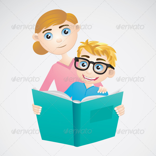 GraphicRiver Boy and Mom Reading a Book 4799901
