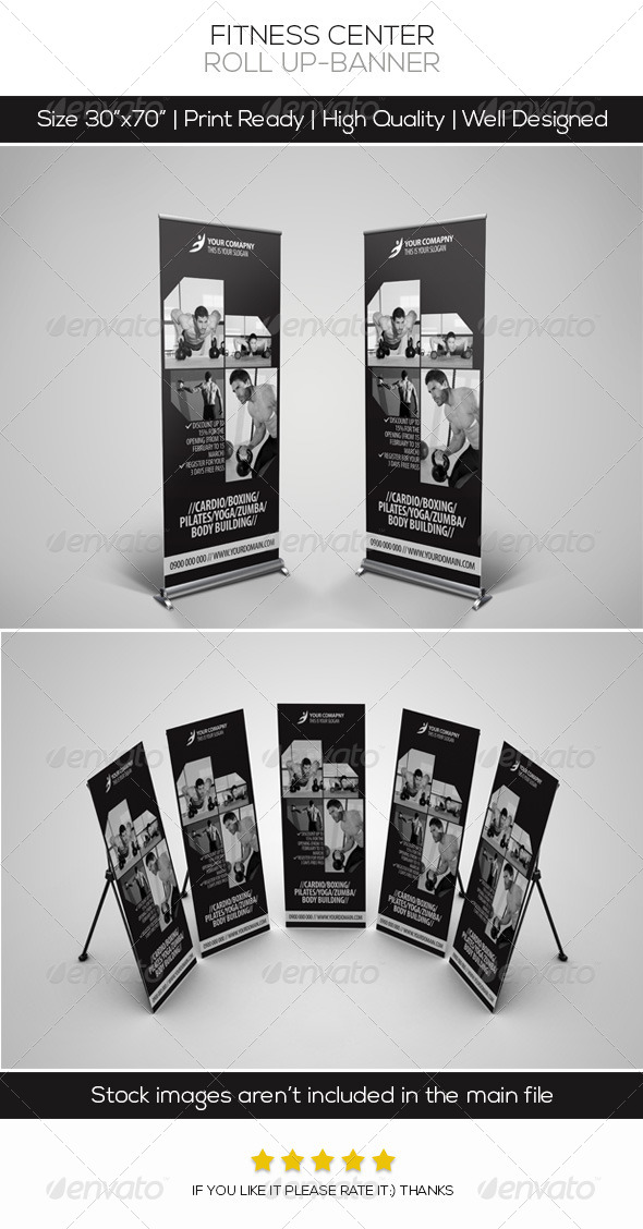 Fitness Center Roll-up Banner - Signage Print Templates