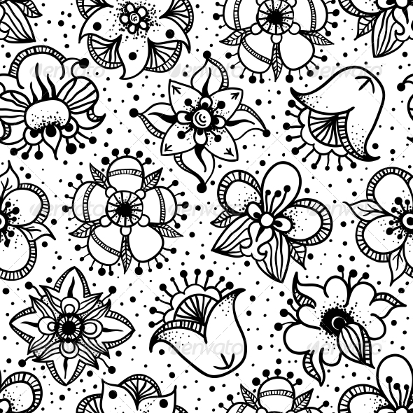 GraphicRiver Floral Seamless Pattern with Hand Drawn Flowers 4801197