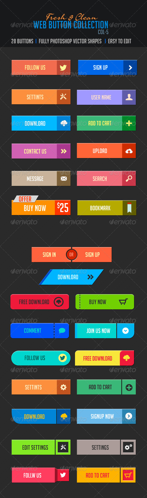 GraphicRiver Web Buttons Col-5 Fresh & Clean 4801395