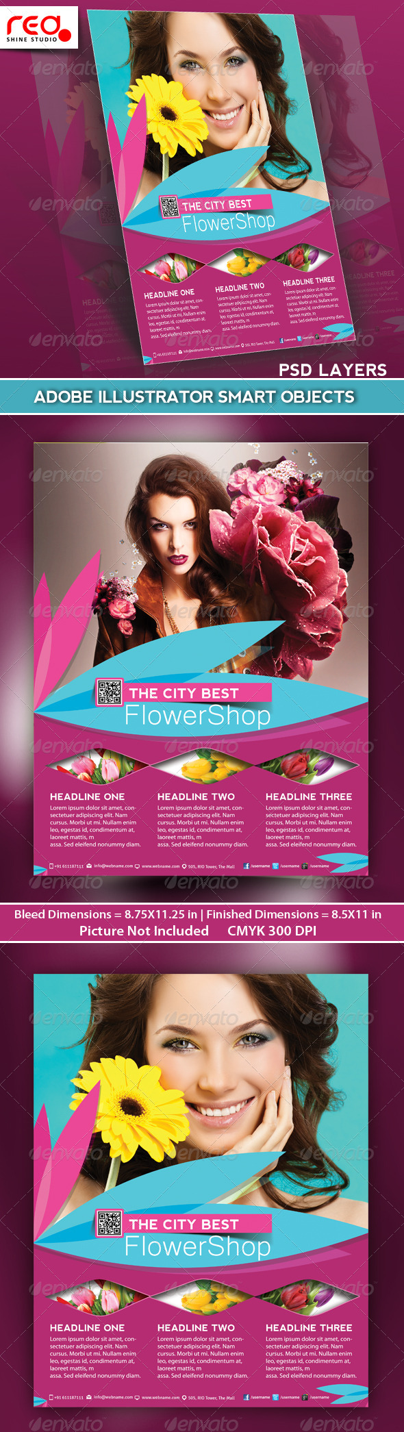 GraphicRiver Flower Shop Flyer Poster & Magazine Template 4801545