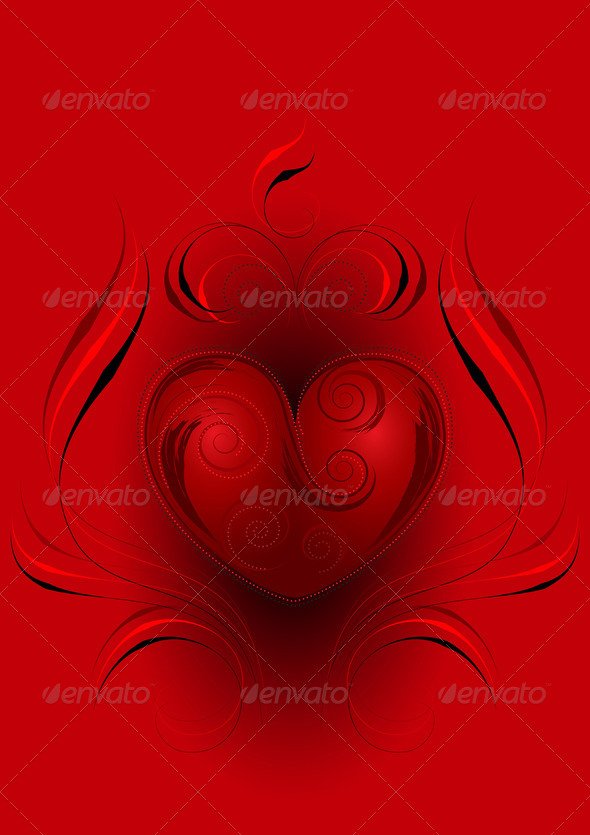 Red Heart with the Decor   on a Red Background - Stock Photo - Images