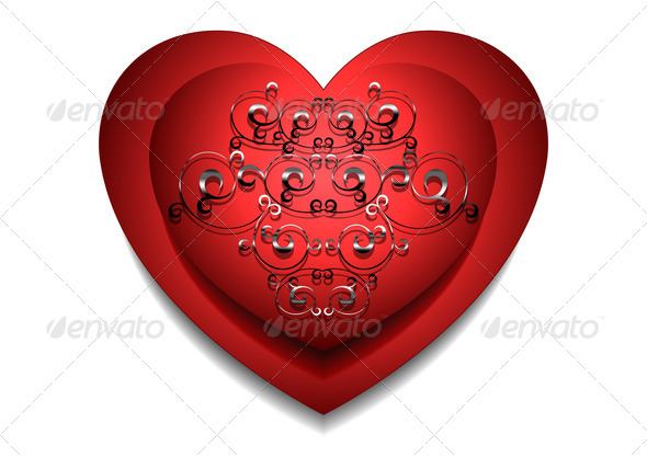 Convex Red Heart with Silver Pattern - Stock Photo - Images