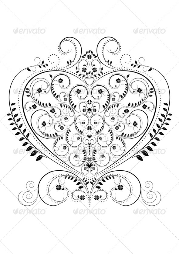 Openwork Pattern in the Form of Heart - Stock Photo - Images