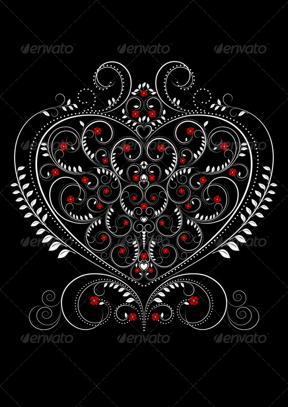 White Openwork Pattern in the Form of Heart - Stock Photo - Images