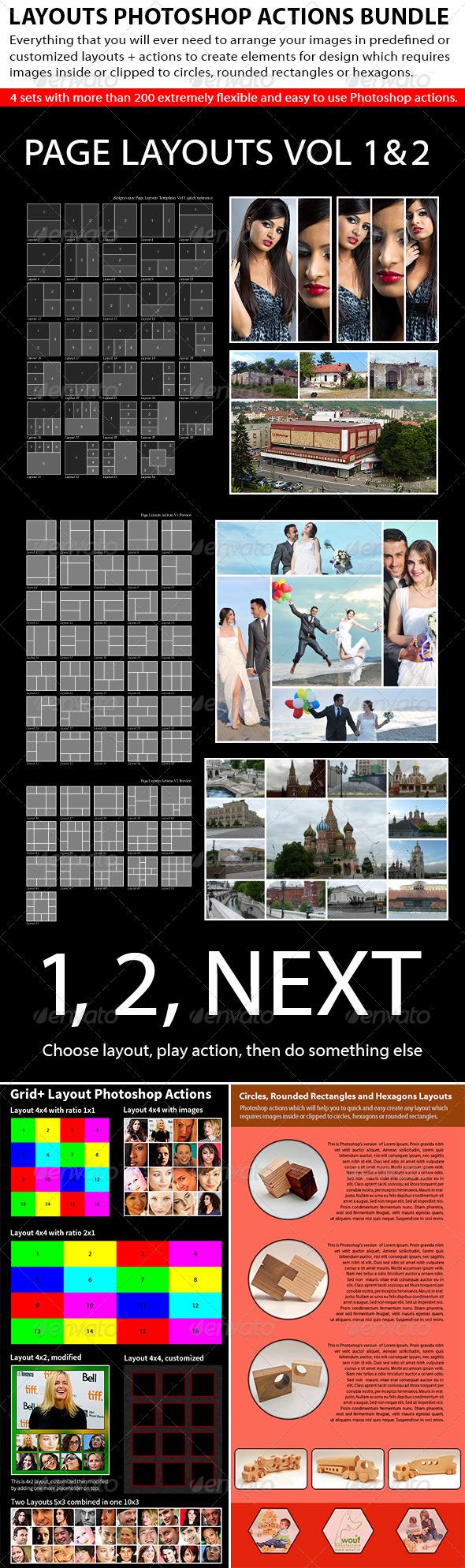 GraphicRiver Layouts Photoshop Actions Bundle 4801747