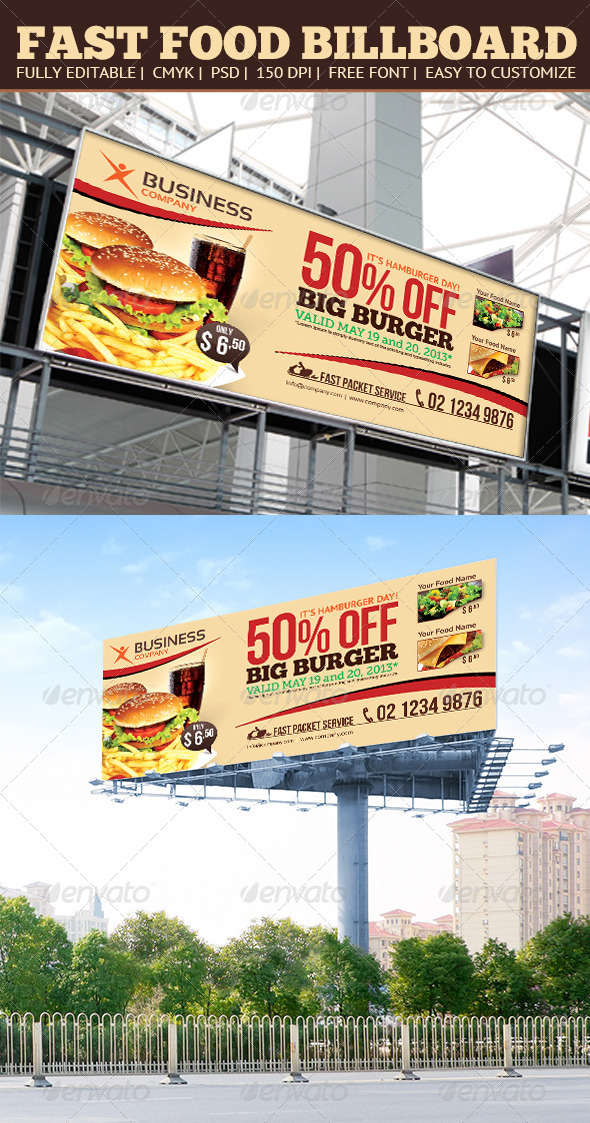 Fast Food Billboard - Signage Print Templates