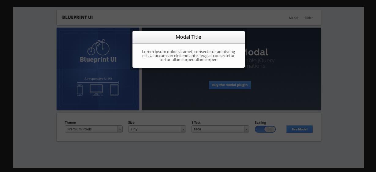 BlueprintUI Responsive Modal