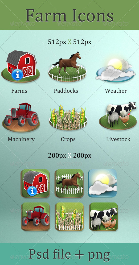 GraphicRiver Farm icons 4802557