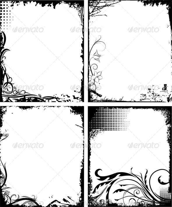 GraphicRiver Set of Four Frames in Grunge Style 4803246