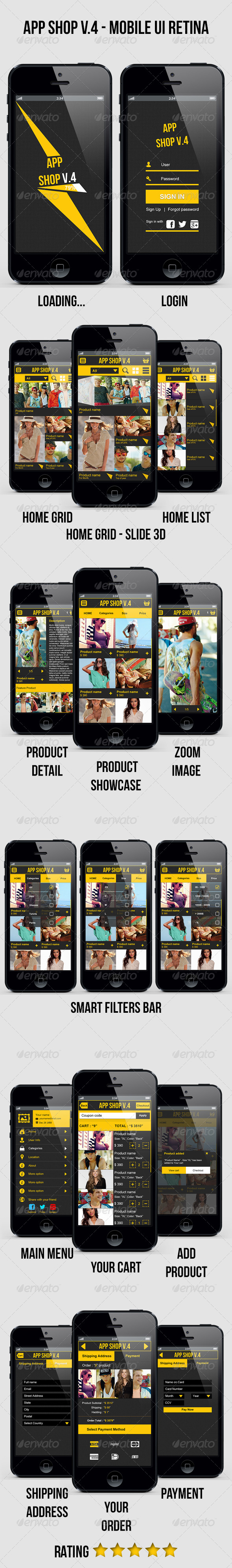 GraphicRiver App Shop V.4 Mobile E Commerce UI Retina 4760327
