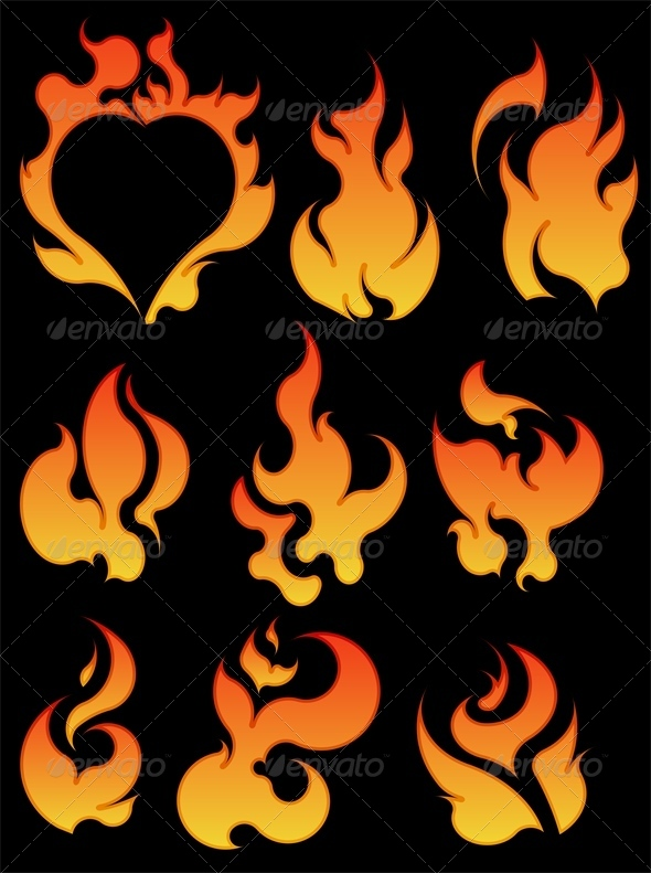 GraphicRiver Set of 7 Fires 4803251