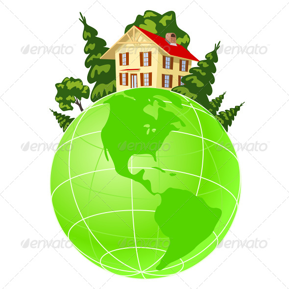 GraphicRiver Illustration of House on Green Earth 4803341
