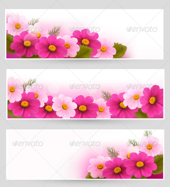 GraphicRiver Set of Holiday Banners with Colorful Flowers 4793006