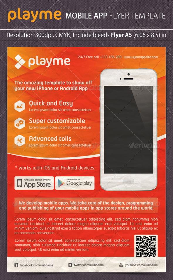 GraphicRiver Playme App Promotion Flyer 4803390