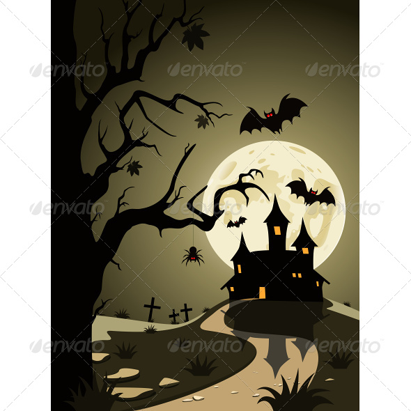 GraphicRiver Halloween Theme from Castle in the Background 4803539