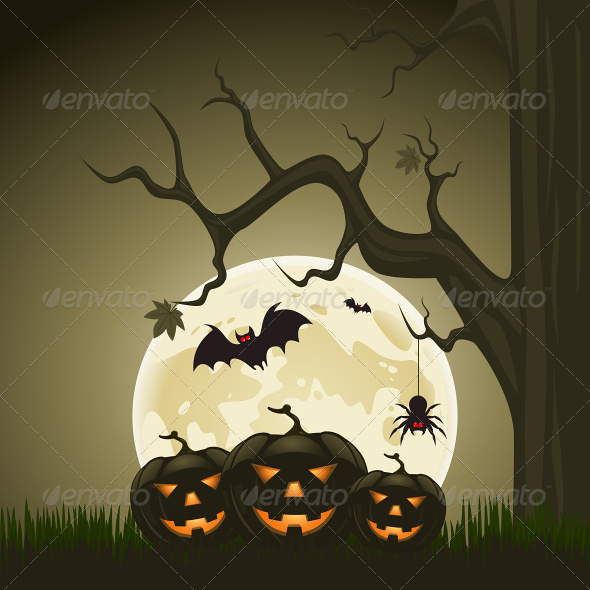 GraphicRiver Halloween Background with Pumpkins and Moon 4803545