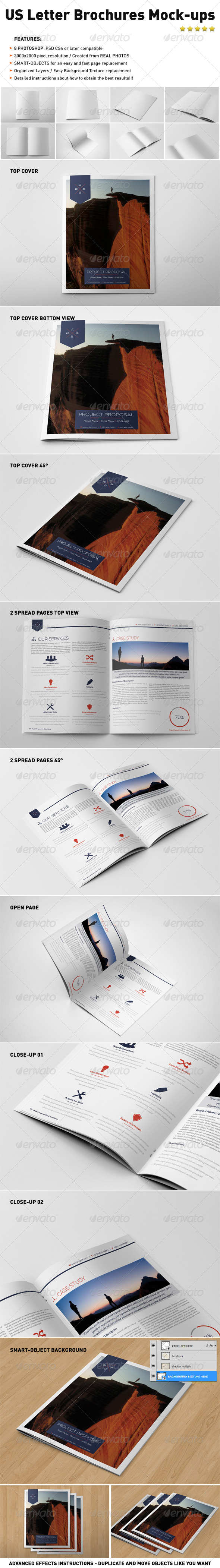 GraphicRiver Photorealistic US Letter Brochure Mock-Ups 4803638