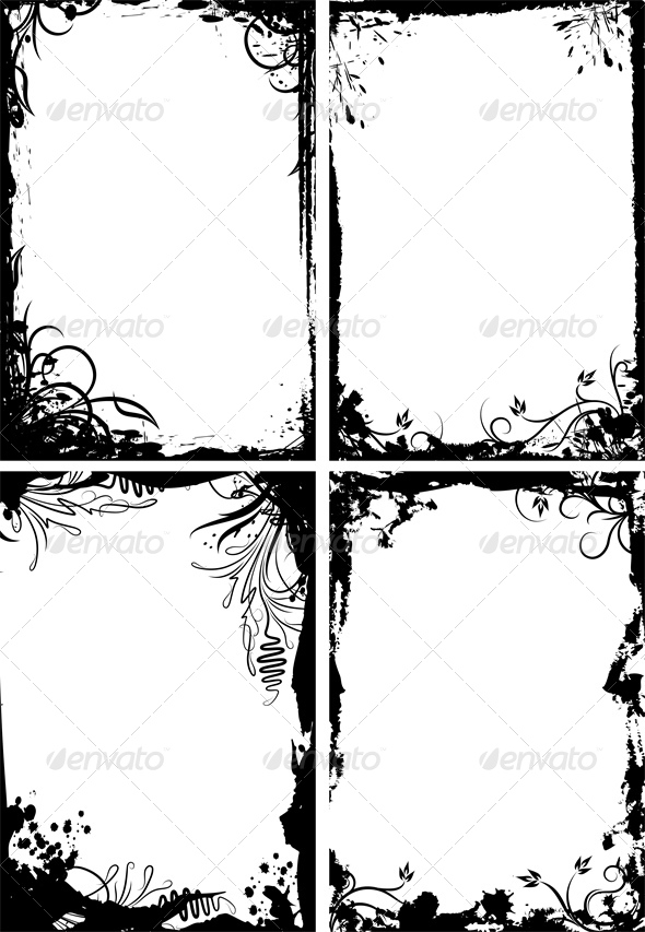 GraphicRiver Set of Four Frames in Grunge Style 4804243