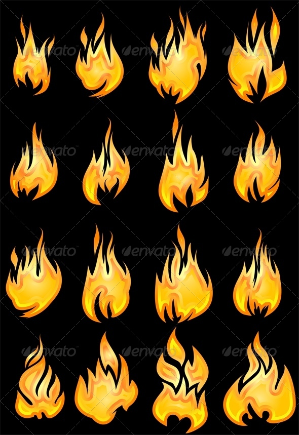 GraphicRiver Set of 16 Fires 4804250