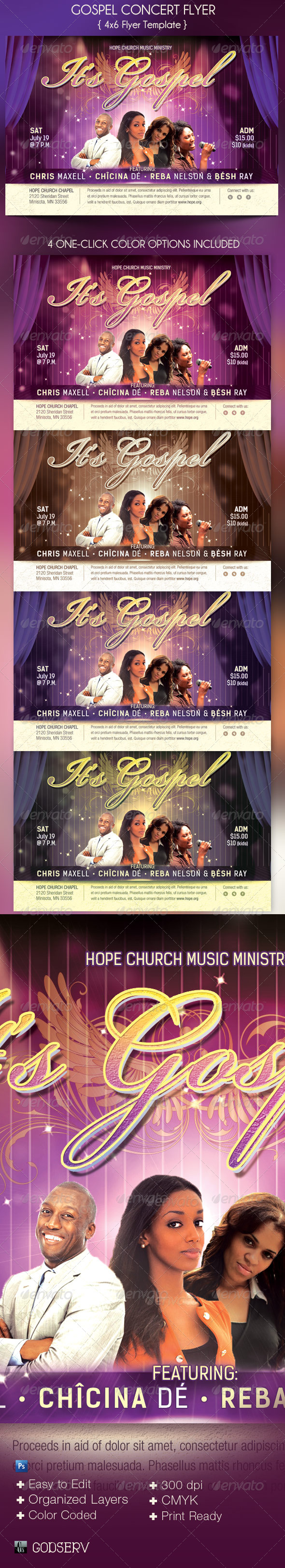 GraphicRiver Gospel Concert Church Flyer Template 4804551
