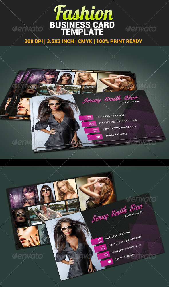 fashion model actress business card template graphicriver. Black Bedroom Furniture Sets. Home Design Ideas