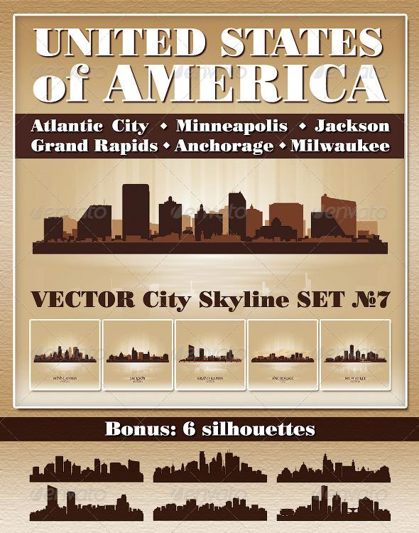 GraphicRiver Vector City Skyline USA Set Number 7 4805883