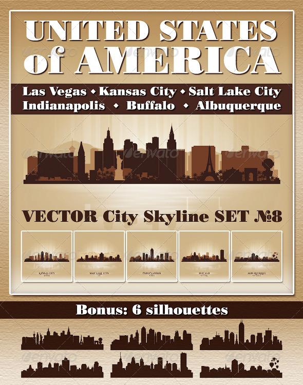 GraphicRiver Vector City Skyline USA Set Number 8 4805884
