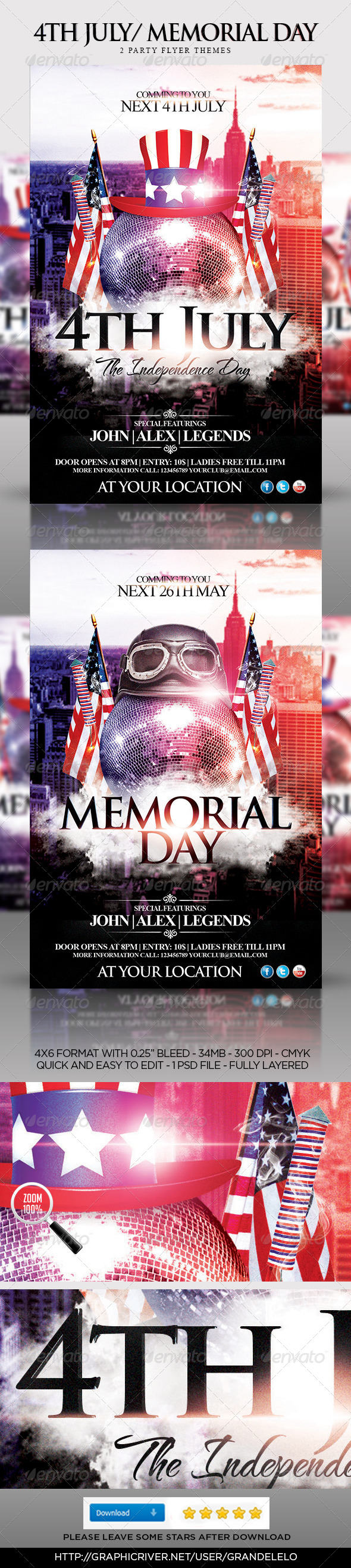 4th July Memorial Day Party Flyer Template
