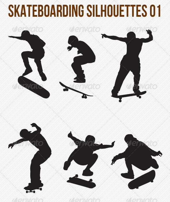 GraphicRiver Skateboarding Silhouettes 4799419