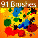 Splatter Brushes Set Vector