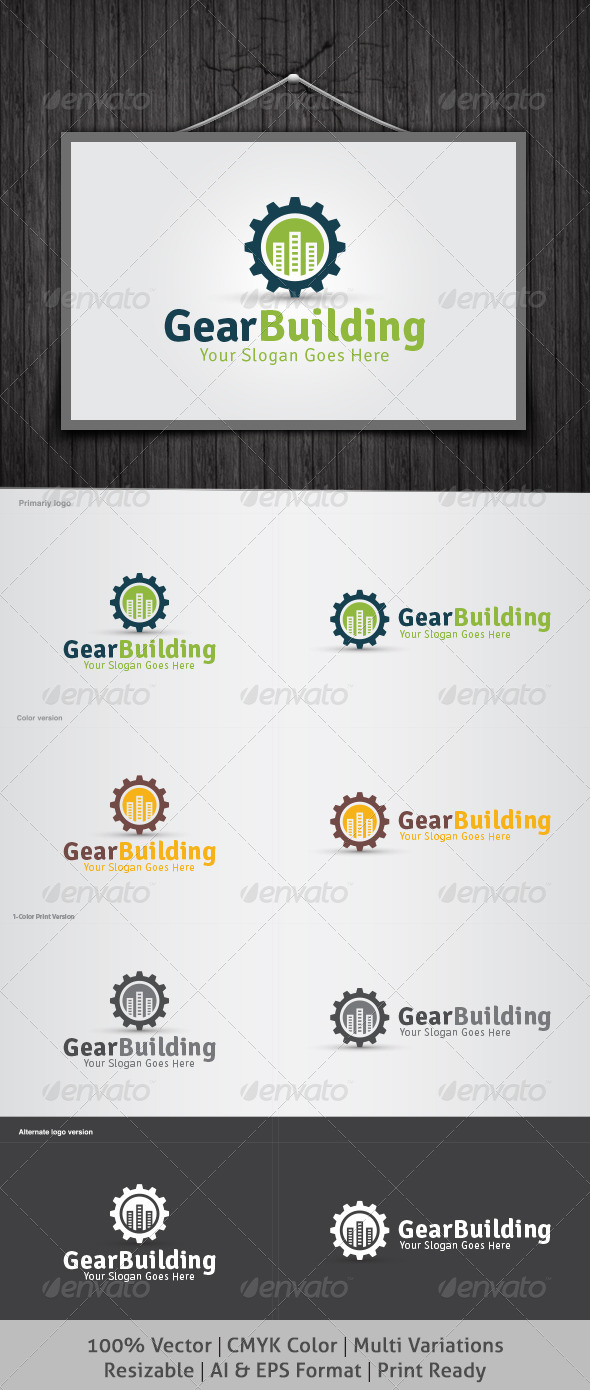 Gear Building Logo - Buildings Logo Templates