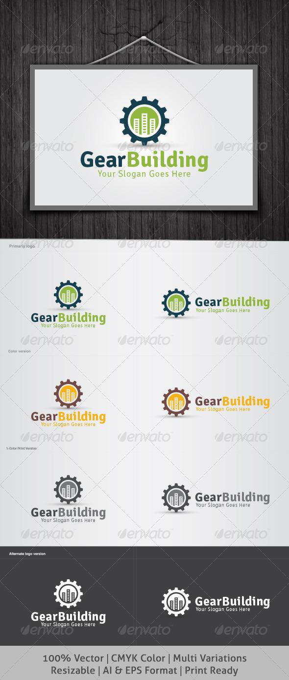 Gear Building Logo - Buildings Logo Templates