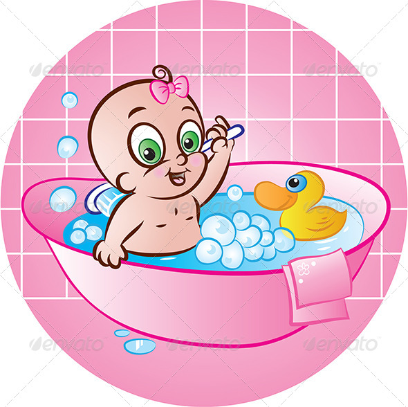 GraphicRiver Happy Baby Girl in Tub 4808904