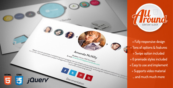 All Around - Responsive jQuery Content Slider / Carousel, Creative and Fun Sliding Plugin