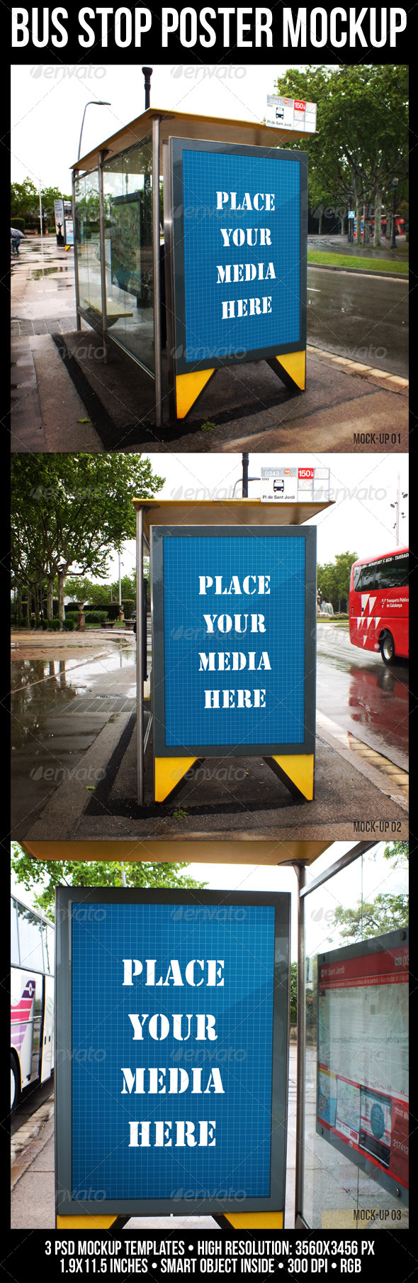 GraphicRiver Bus Stop Poster Mockup 4809481