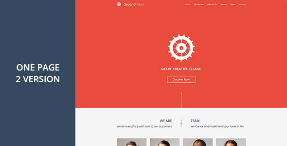 Second Gear - One Page Portfolio PSD Template - Preview image