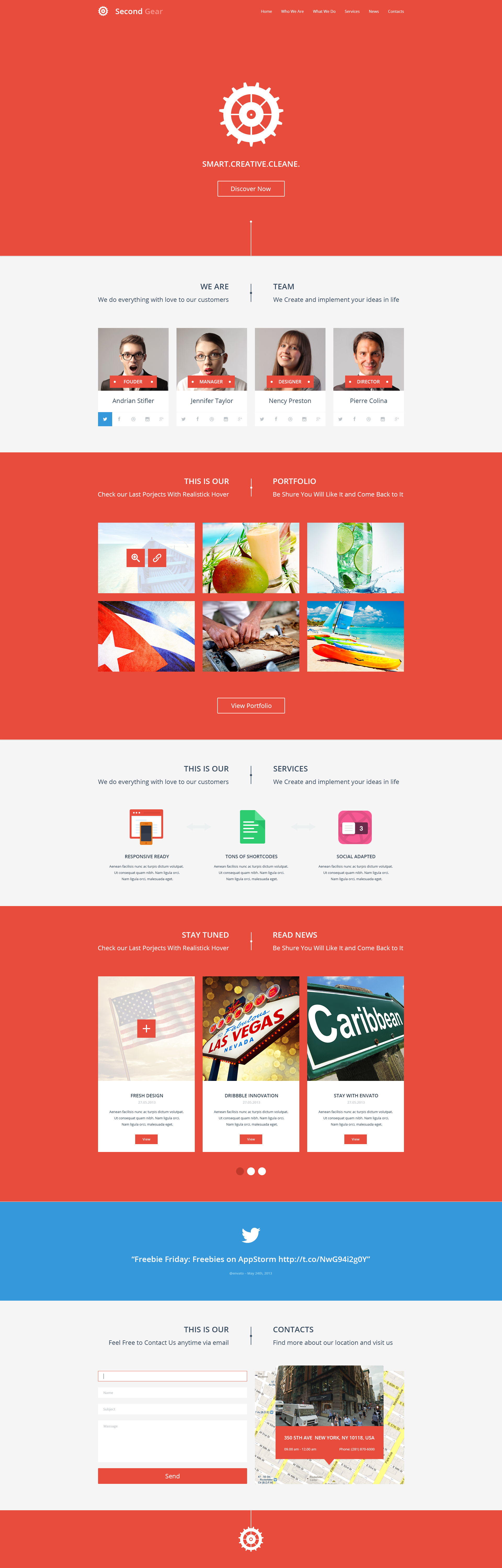 Second Gear - One Page Portfolio PSD Template - Screenshot 1